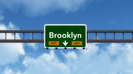 brooklyn: Brooklyn USA Highway Sign Stock Photo
