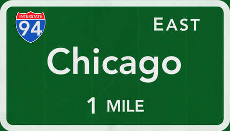 interstate: Chicago USA Interstate Highway Sign Stock Photo
