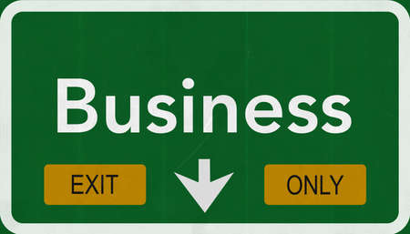 and only: Business Highway Road Sign Exit Only Concept Stock Photo
