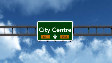 city centre: City Centre Highway Road Sign Exit Only Concept