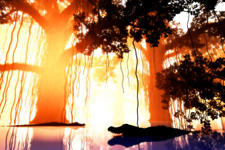 mystique: Aligators in Mysterious Fairy Tale Fantasy Deep Jungle in Water at Night 3D Illustration Stock Photo
