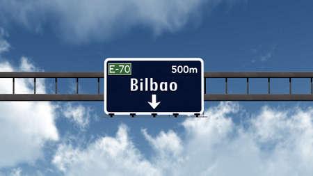 ビルバオ スペイン高速道路道路標識 写真素材