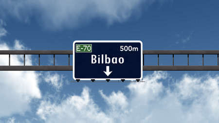 Bilbao Spain Highway Road Sign