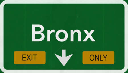 Bronx USA Highway Road Sign Exit Only Stock Photo