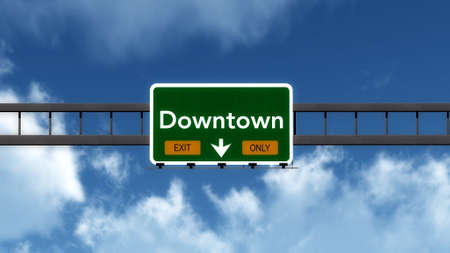 downtown: Downtown Highway Road Sign Exit Only Concept