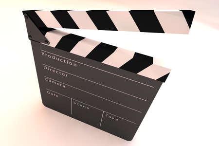 slateboard: Film Slate Clapper 3D render Stock Photo