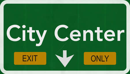 City Center Highway Road Sign Exit Only Concept Stock Photo