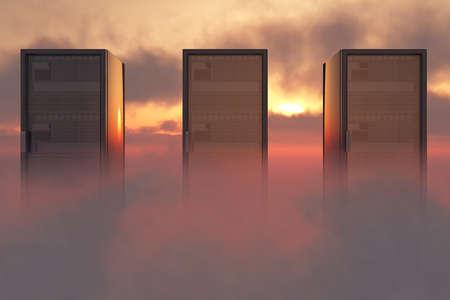 renderfarm: Cloud Servers Computing Creative Concept Stock Photo