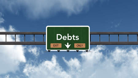 and only: Debts Highway Road Sign Exit Only Concept Stock Photo