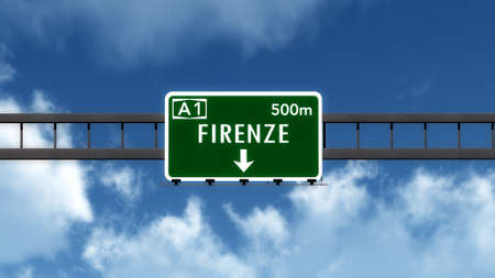 florence   italy: Firenze Florence Italy Highway Road Sign Stock Photo