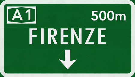 Firenze Florence Italy Highway Road Sign Stock Photo