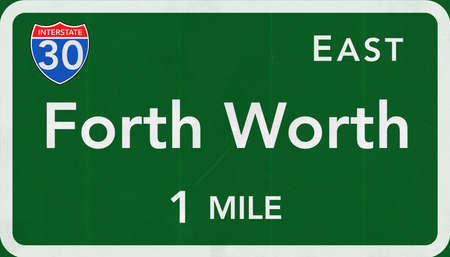 forth: Forth Worth USA Interstate Highway Sign Stock Photo
