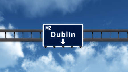irish cities: Dublin United Kingdom Ireland Highway Road Sign