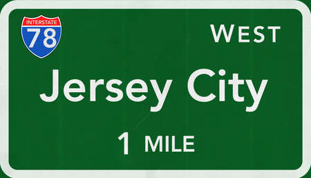 jersey city: Jersey  City USA Interstate Highway Sign Stock Photo
