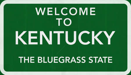 bluegrass: Kentucky USA State Welcome to Highway Road Sign Stock Photo