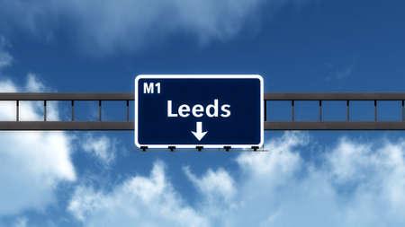 leeds: Leeds United Kingdom England Highway Road Sign