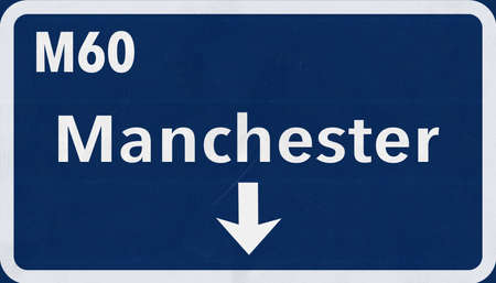 Manchester United Kingdom Highway Road Sign Stock Photo