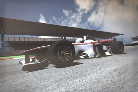 indy: Formula 1 Indy Car on Race Track 3D artwork render Stock Photo