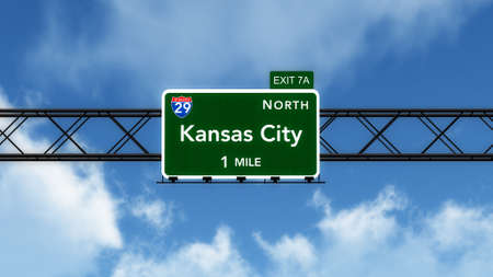 interstate: Kansas City USA Interstate Highway Sign Stock Photo