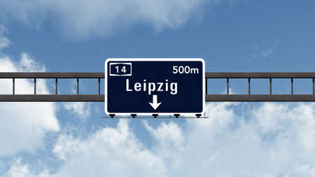 leipzig: Leipzig Germany Highway Road Sign Stock Photo