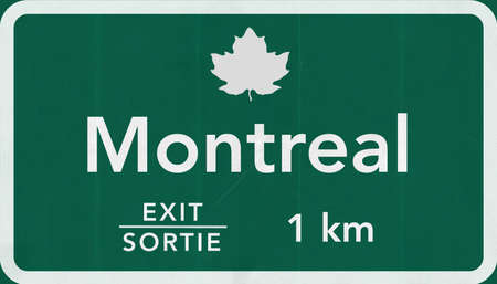 montreal: Montreal Canada Transcanada Highway Road Sign Stock Photo