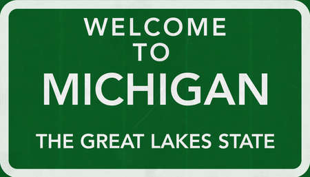michigan: Michigan USA State Welcome to Highway Road Sign Stock Photo