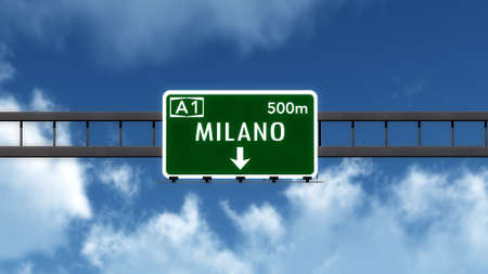 milan: Milano Milan Italy Highway Road Sign