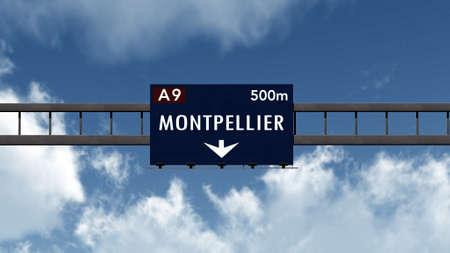 Montpellier France Highway Road Sign