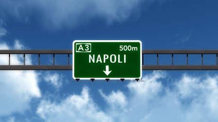 naples: Napoli Naples Highway Road Sign