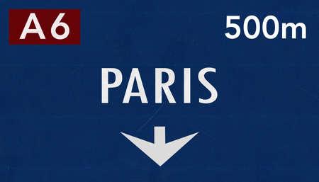 paris france: Paris France Highway Road Sign