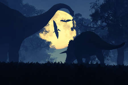 Dinosaurs in Prehistoric Jungle at Night in the Moonlight 3D Artwork Banque d'images