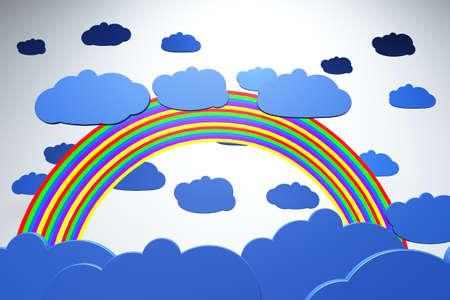 surrealistic: Cartoony Clouds and Rainbow Stock Photo