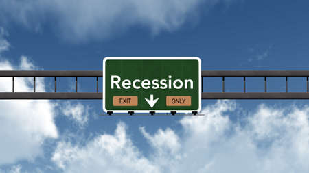 recession: Recession Highway Road Sign Exit Only Concept Stock Photo