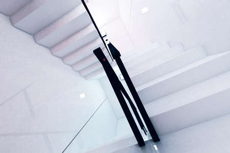 complex system: Reflective Emergency Staircase in Modern Building 3D artwork Stock Photo