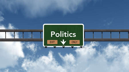 and only: Politics Highway Road Sign Exit Only Concept Stock Photo