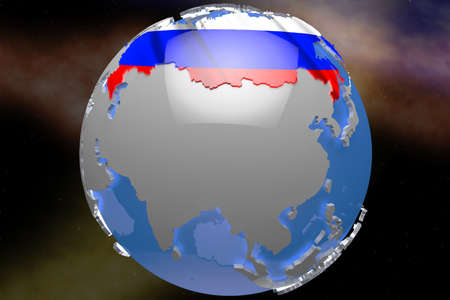 russia map: Russia Map and Waving Flag on Earth Stock Photo