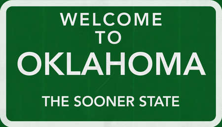 oklahoma city: Oklahoma USA State Welcome to Highway Road Sign Stock Photo
