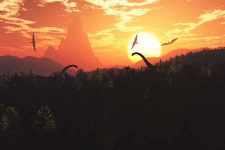 Dinosaurs in Prehistoric Jungle in the Sunset Sunrise 3D Artwork Stock Photo
