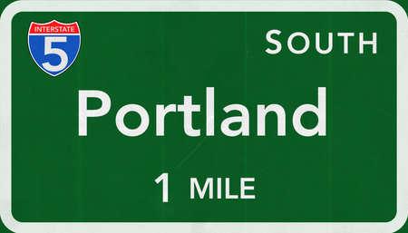 portland: Portland USA Interstate Highway Sign Stock Photo
