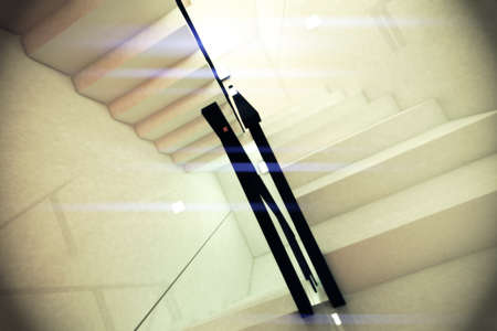 hyper: Reflective Emergency Staircase in Modern Building 3D artwork Stock Photo