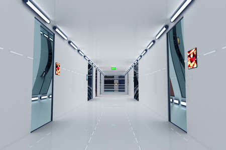 ultra modern: Ultra Modern Building Corridor Photo Realistic 3D Illustration