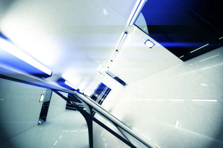 Ultra Modern Building Corridor Photo Realistic 3D Illustration illustration