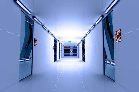 ultra: Ultra Modern Building Corridor Photo Realistic 3D Illustration
