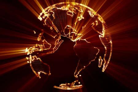lightrays: Shining 3D Globe Spinning Earth Illustration Modern Design