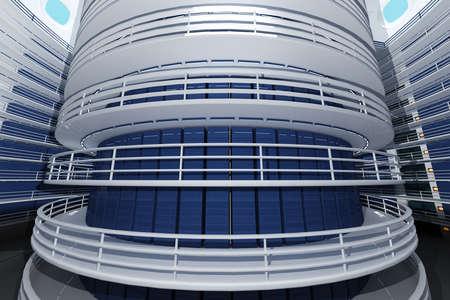 Ultra Modern Data Center Interior 3D Illustration Photorealistic HQ 3D render illustration