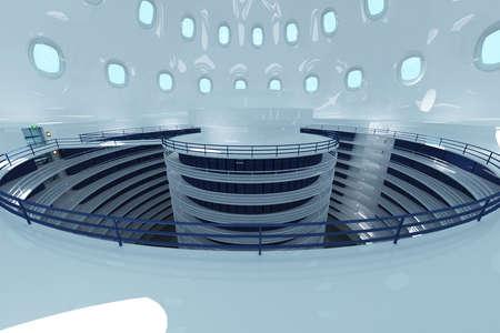 hyper: Ultra Modern Data Center Interior 3D Illustration Photorealistic HQ 3D render