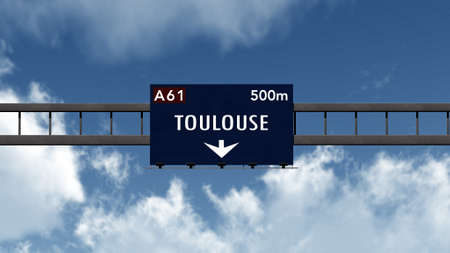 toulouse: Toulouse France Highway Road Sign Stock Photo