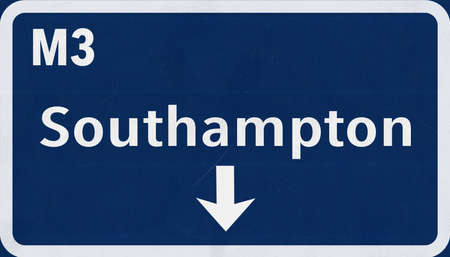 united kingdom: Southampton England United Kingdom Highway Road Sign Stock Photo