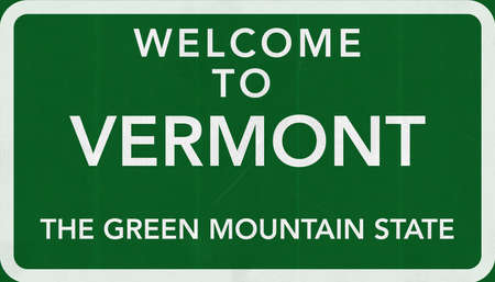 Vermont USA State Welcome to Highway Road Sign photo
