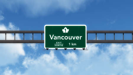 vancouver city: Vancouver Canada Transcanada Highway Road Sign Stock Photo